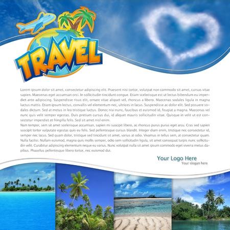 voyage: mise en page avec un paysage tropical et des nuages ??en forme de coeur