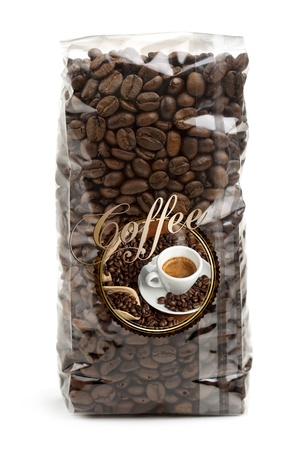 clear plastic bag of coffee beans isolated on white background