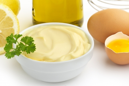 dressing up: close up of a bowl of mayonnaise and ingredients