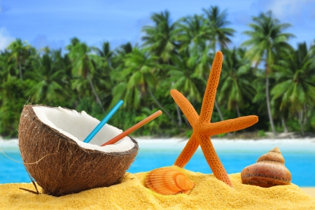 open palm: half coconut with straws, starfish and shells in a tropical landscape