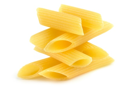pile of penne in balance on white background Stok Fotoğraf