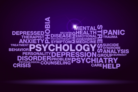 counselor: psychology word cloud on dark purple background