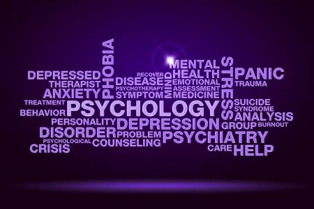 psychology word cloud on dark purple background