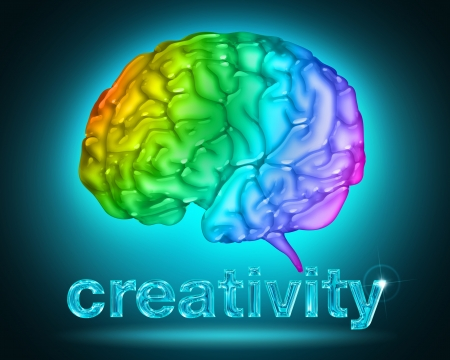thinking brain: illustration of a brain with the colors of the rainbow Stock Photo