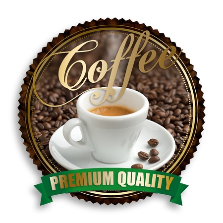 label of premium quality coffee on white background photo