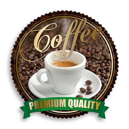 label van premium kwaliteit koffie op witte achtergrond