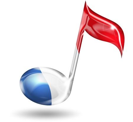 simbolos musicales: nota musical con colores de la bandera francesa