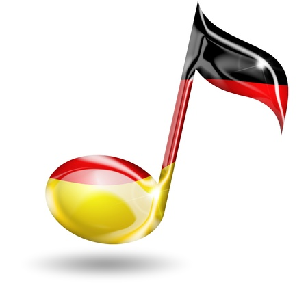 folk dance: musical note with german flag colors Stock Photo