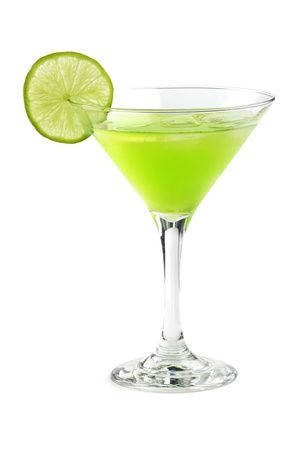 cocktail with a slice of lime in a martinin glass photo
