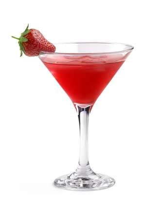 red cocktail garnished with strawberry in a martini glass on white background photo
