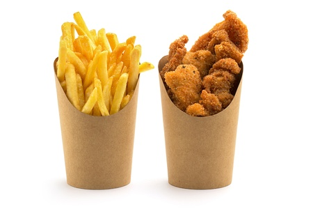 crispy: fries and nuggets in paper boxes on white background
