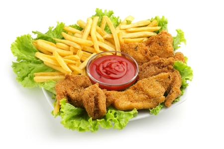 fried chicken, fries, lettuce and ketchup sauce on white background