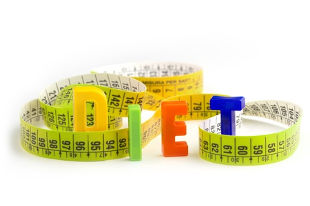 diet word made of colorful letters and measuring tape photo