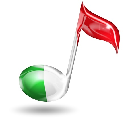 musical note with italian flag colors photo