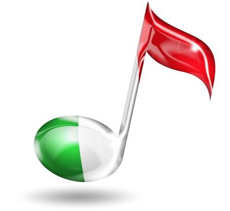 bandiera italiana: nota musicale con i colori della bandiera italiana