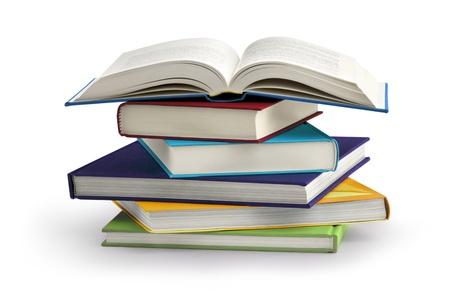 Pila de libros aislados en el fondo blanco Foto de archivo - 21830532