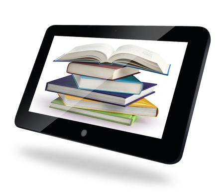 biblioteca: libros apilados en el monitor de la pantalla t�ctil Foto de archivo