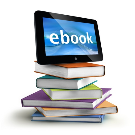 electronic book: stacked books with a tablet on top
