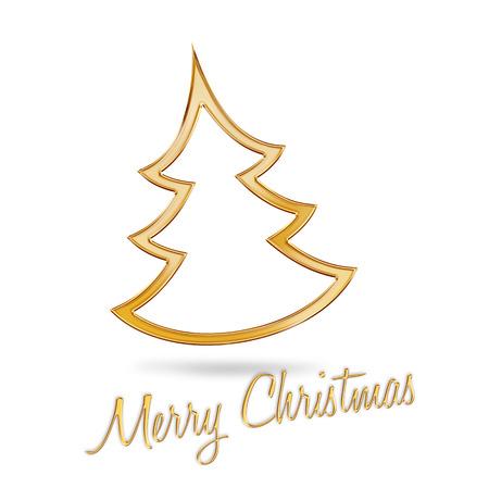 golden christmas tree on white background photo