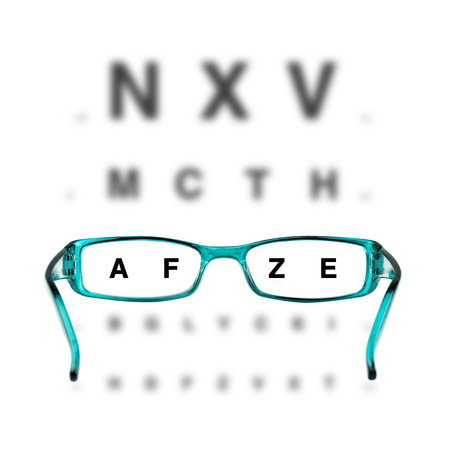 myopia: blue eyeglasses and eyechart on white background