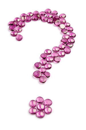 health questions: question mark made with glass bead