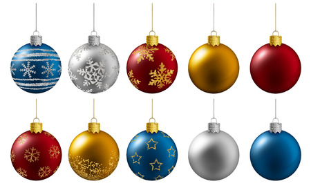 colorful christmas balls hanging on a white background photo