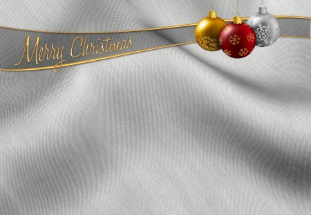 argent: colorful christmas balls hanging on a silvery background