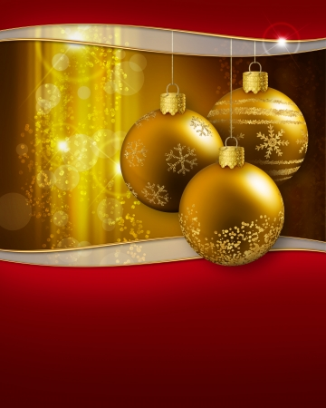 three golden christmas baubles hanging on a glittering background photo
