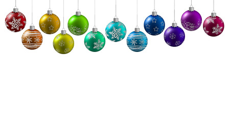 multicolored christmas balls hanging on a white background photo