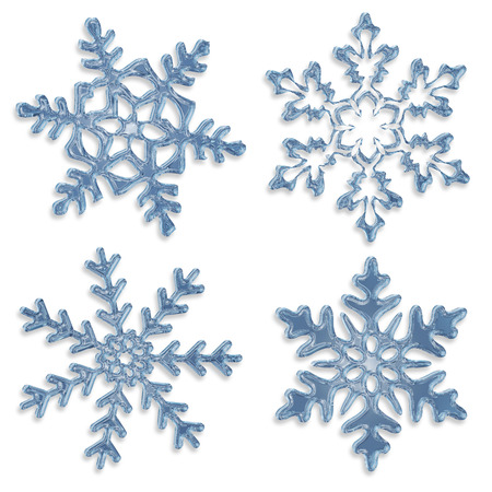 set of blue icy snowflakes on white background photo