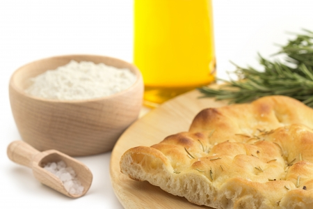 slice of focaccia and recipe ingredients photo