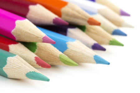 tip up: close up of an assortment of colored pencils