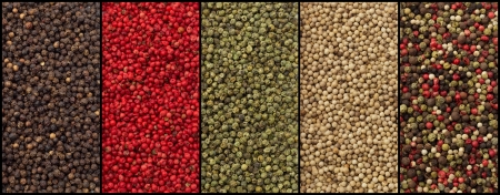 varieties of pepper  black, red, green, white and mixed Stock Photo - 23800121