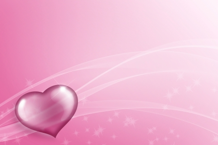 shiny and transparent heart on a pink backdrop photo