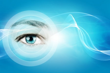 seeing: abstract blue background with closeup of human eye Stock Photo