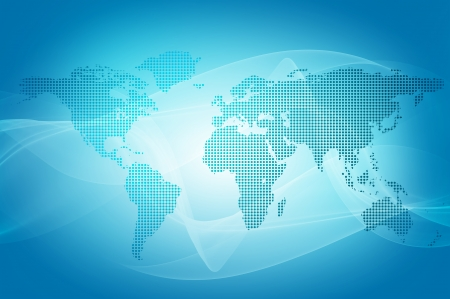 global market: abstract blue background of world map made with dots