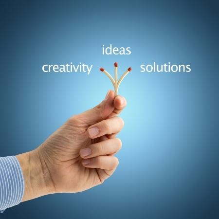 hand of a businessman holding a triple matchstick
