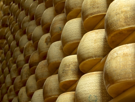 maturing: heap of wheels of cheese in a maturing storehouse Stock Photo