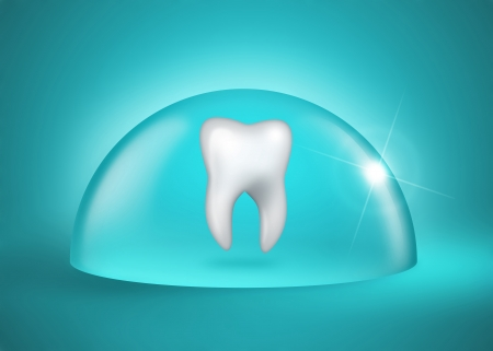 mouth cavity:  molar tooth under a bell jar on blue background
