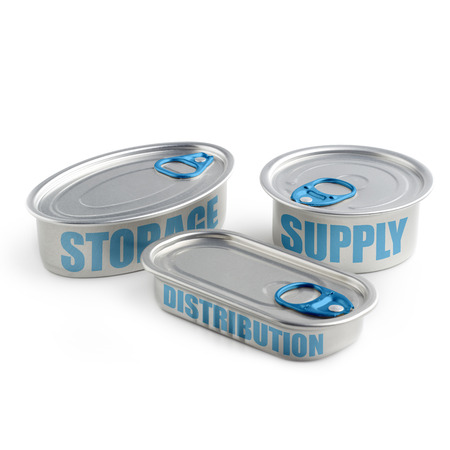 distributor: cans with the keywords of supply chain management Stock Photo
