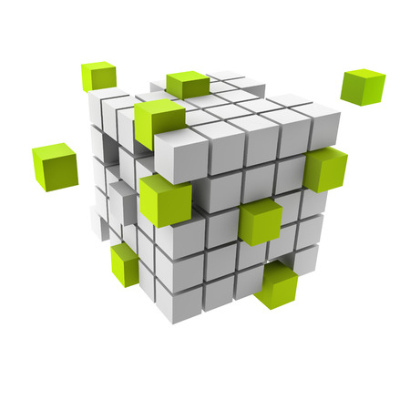 assembling of a cubic structure with green pieces Banco de Imagens - 25034789