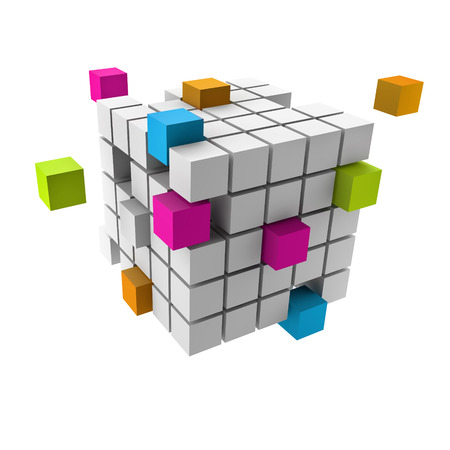 team building: assembling of a cubic structure with colorful pieces