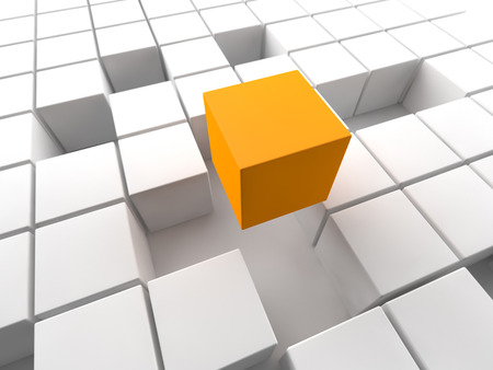 company building: orange cube above a white cubic structure