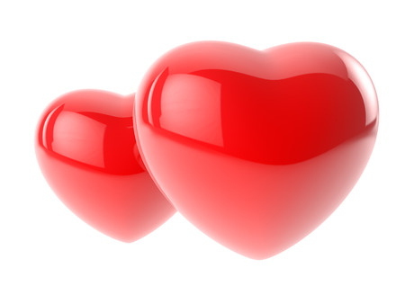 two glossy red hearts isolated on white  photo