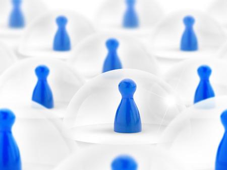 vida social: peones azules protegida por una campana de vidrio Foto de archivo