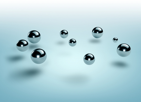 steel: group of steel spheres floating over a blue
