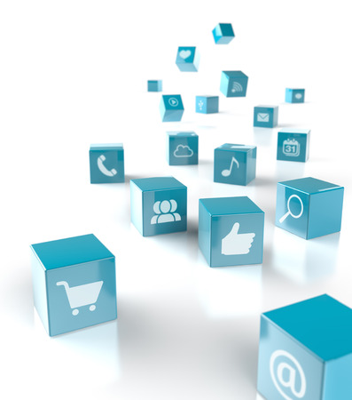 falling cubes: falling cubes with icons of applications and social media Stock Photo