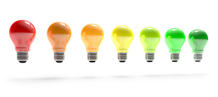 colorful light bulbs in row on white Imagens
