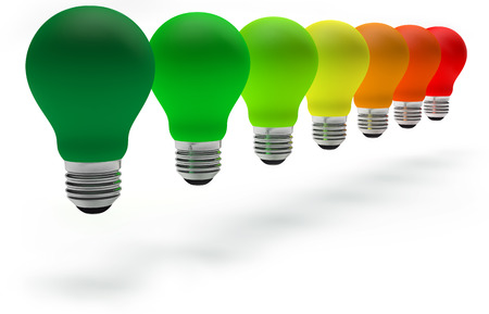 colorful light bulbs in row on white  Stock Photo