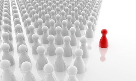 red pawn standing out the white crowd photo